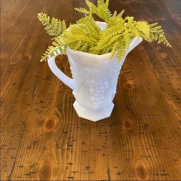 Vintage Milk glass pitcher white knob grape vine